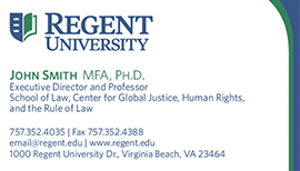 Regent university purchasing department stationery and for Business development titles for business cards