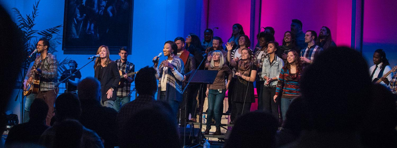 The choir during a chapel service at Regent University, Virginia Beach.