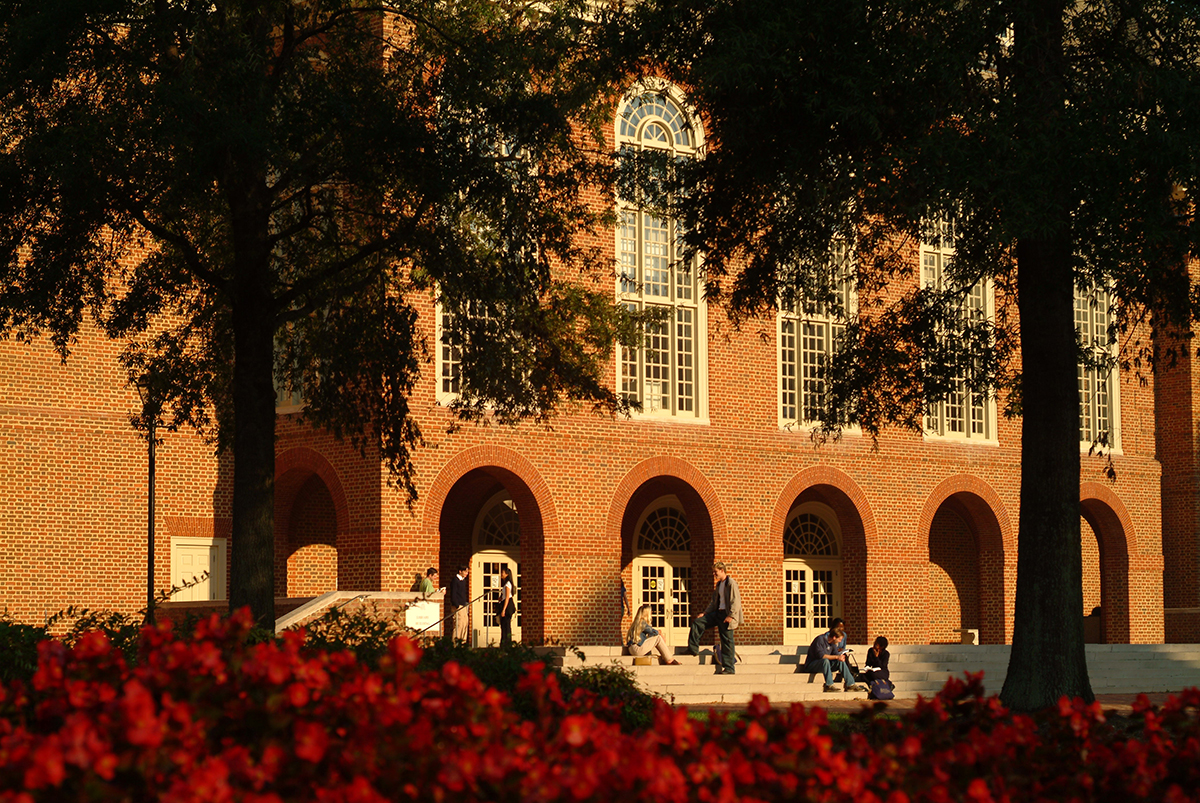 Regent University's library building reflects the Georgian architecture of the rest of its campus in Virginia Beach.