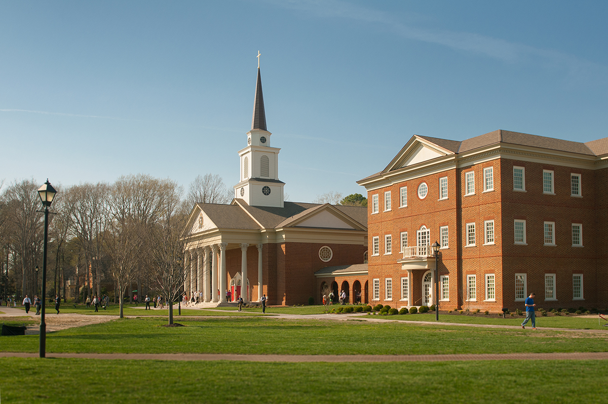 Regent University's Chapel, adjoined by the Divinity Building, is the nucleus of its campus in Virginia Beach.