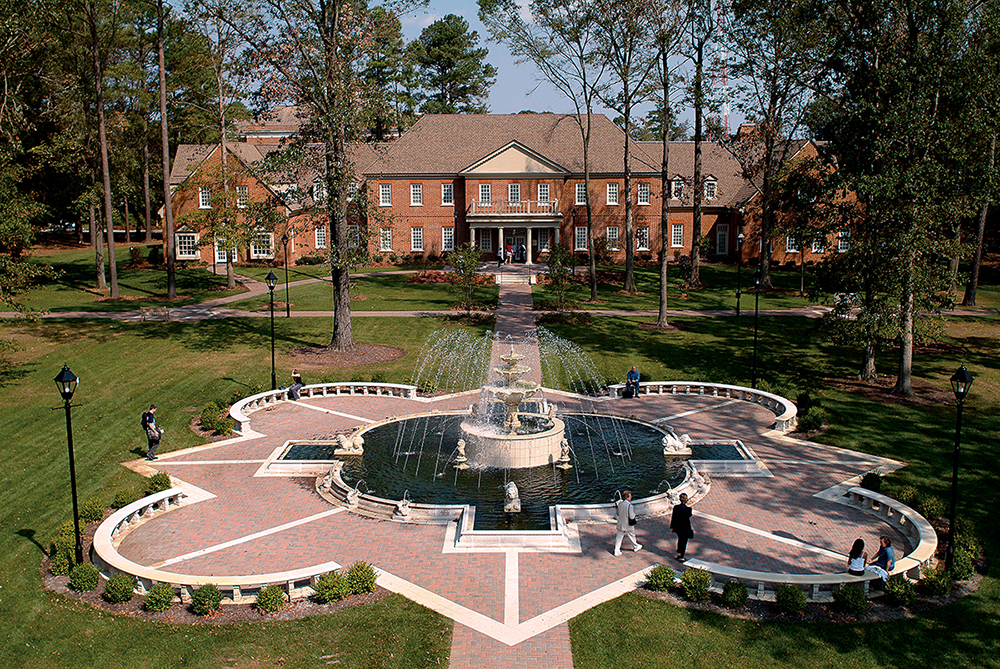 The Student Center of Regent University, Virginia Beach, overlooks the beautiful fountain on campus.