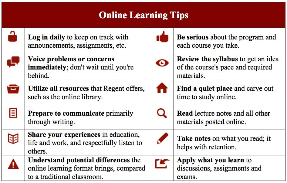 Regent University: An infographic on online learning tips.