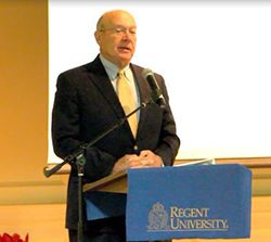 Admiral Vern Clark at Regent University, Virginia Beach.