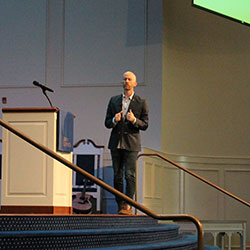 Adam Mabry, lead pastor of Alethia church speaks at Regent University's weekly chapel service.
