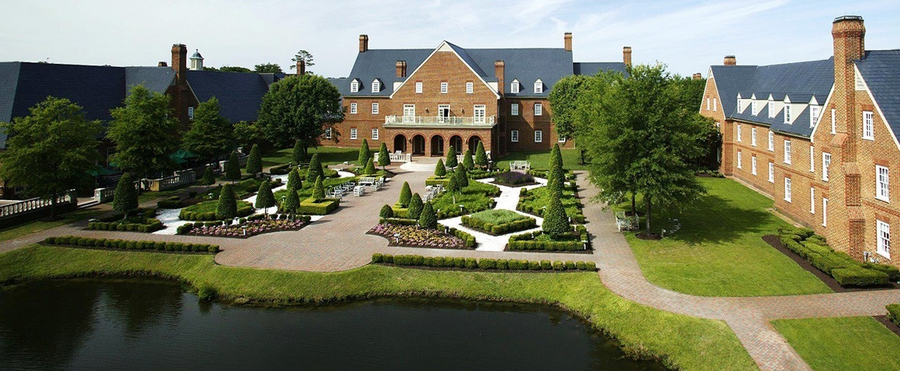 The Founders Inn and Spa is located adjacent to Regent University's campus in Virginia Beach.