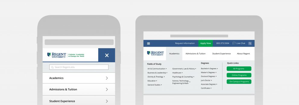 The streamlined mobile and tablet experience offered by the new regent.edu website.