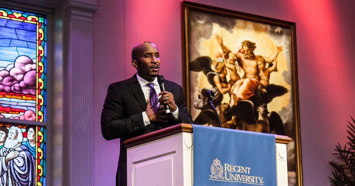 Dr. Dharius Morshun Daniels at Regent University's chapel, Virginia Beach.