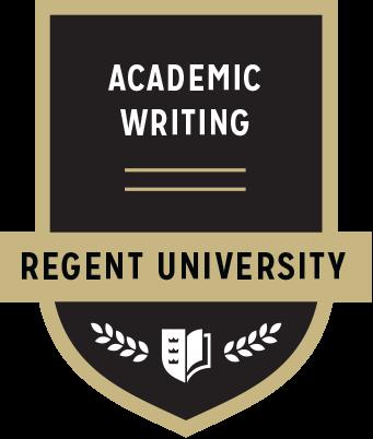 The Academic Writing badge of Regent University.