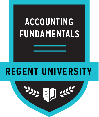 The Accounting Fundamentals badge of Regent University.