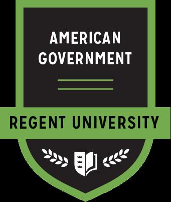 The American Government badge of Regent University.