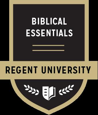 The Biblical Essentials badge of Regent University.