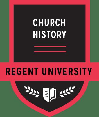 The Church History badge of Regent University.