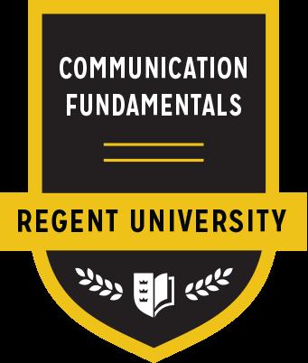 The Communication Fundamentals badge of Regent University.