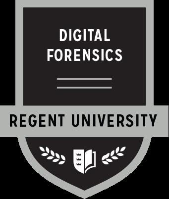 The Digital Forensics badge of Regent University.