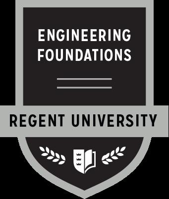 The Engineering Foundations badge of Regent University.