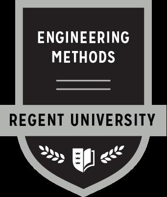 The Engineering Methods badge of Regent University.