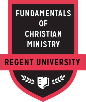 The Fundamentals of Christian Ministry badge of Regent University.