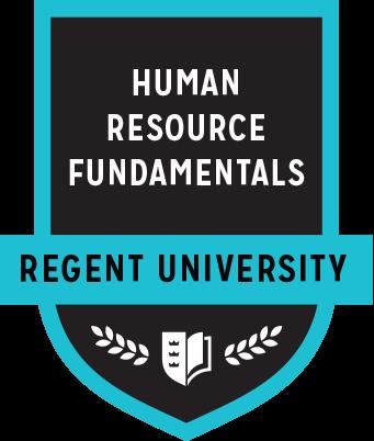 The Human Resource Fundamentals badge of Regent University.