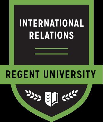The International Relations badge of Regent University.