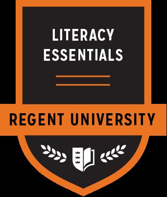 The Literacy Essentials badge of Regent University.