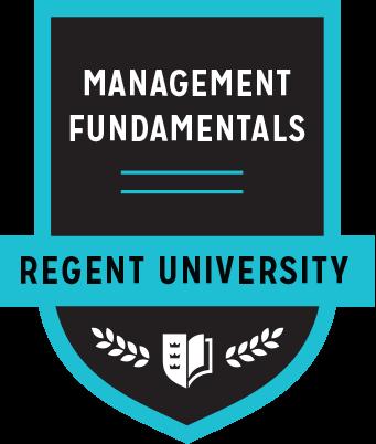 The Management Fundamentals badge of Regent University.
