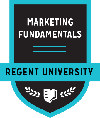 The Marketing Fundamentals badge of Regent University.