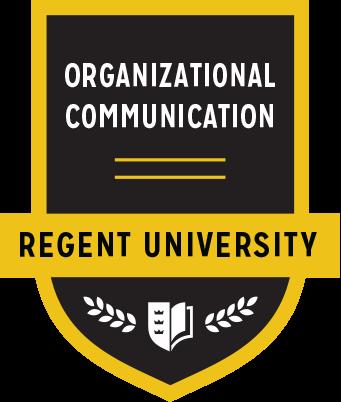 The Organizational Communication badge of Regent University.