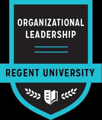 The Organizational Leadership badge of Regent University.
