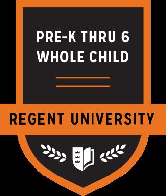 The Prek-6 Whole Child badge of Regent University.