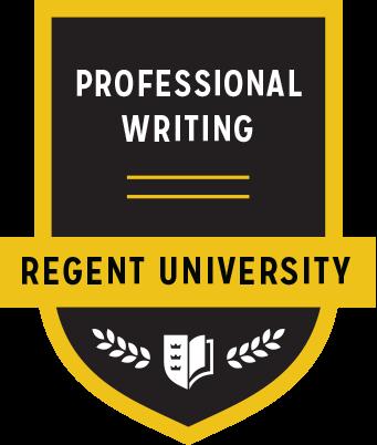The Professional Writing badge of Regent University.