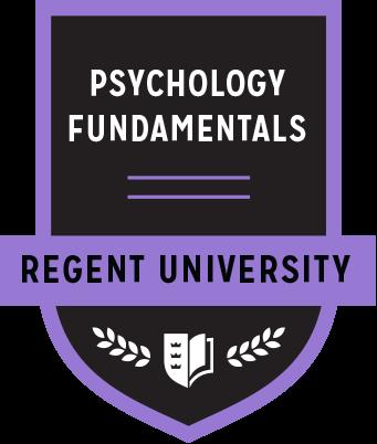 The Psychology Fundamentals badge of Regent University.
