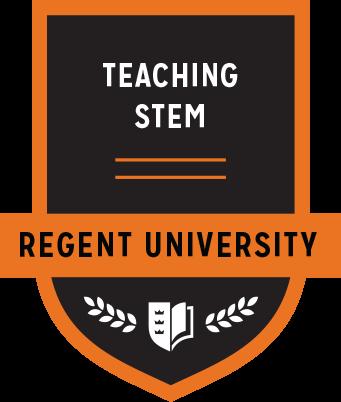 The Teaching Stem badge of Regent University.