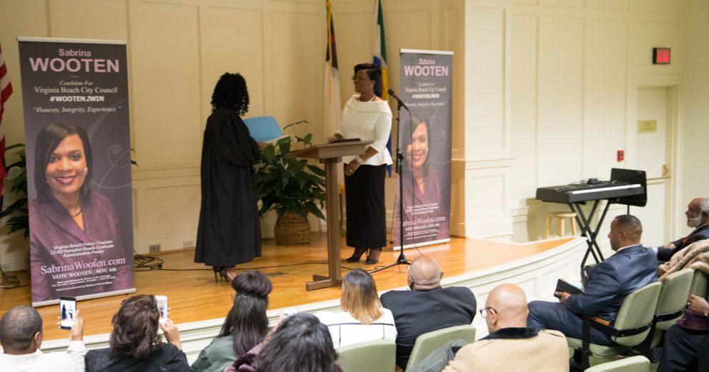 Regent University alumna Sabrina Wooten be sworn in her new role as Virginia Beach City Council Member.