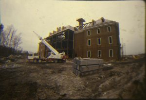 A photograph of the Regent University library under construction.