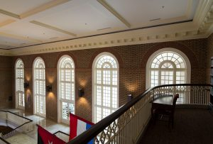 Regent University library's third-floor balcony.