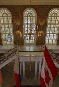The lobby of Regent University's library, Virginia Beach.