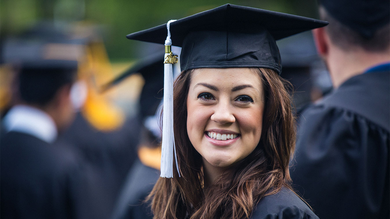 A student at the graduation ceremony of Regent University, a Christian university that offers graduate and undergraduate degree programs in Virginia and online.