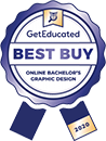 Regent University ranked #8 of 16 most affordable online bachelor degrees in graphic design | GetEducated, 2020