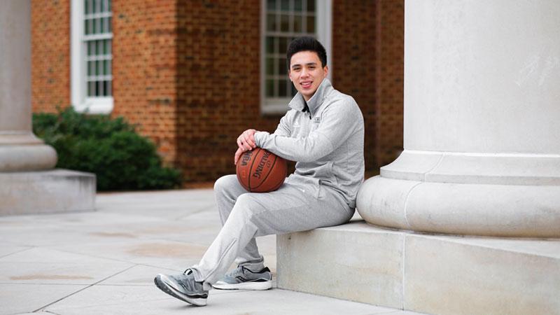Regent University men's basketball captain Drew Aiken.