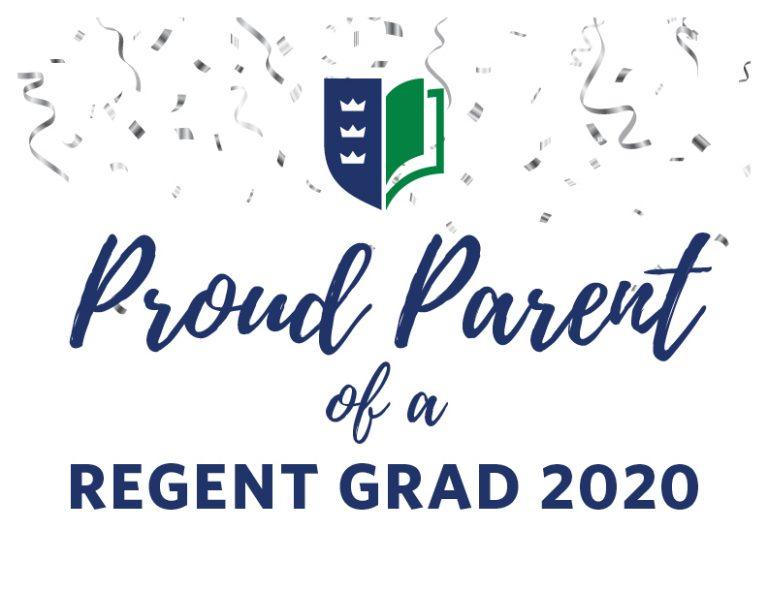 'Proud Parent of a Regent Grad 2020' downloadable sign.