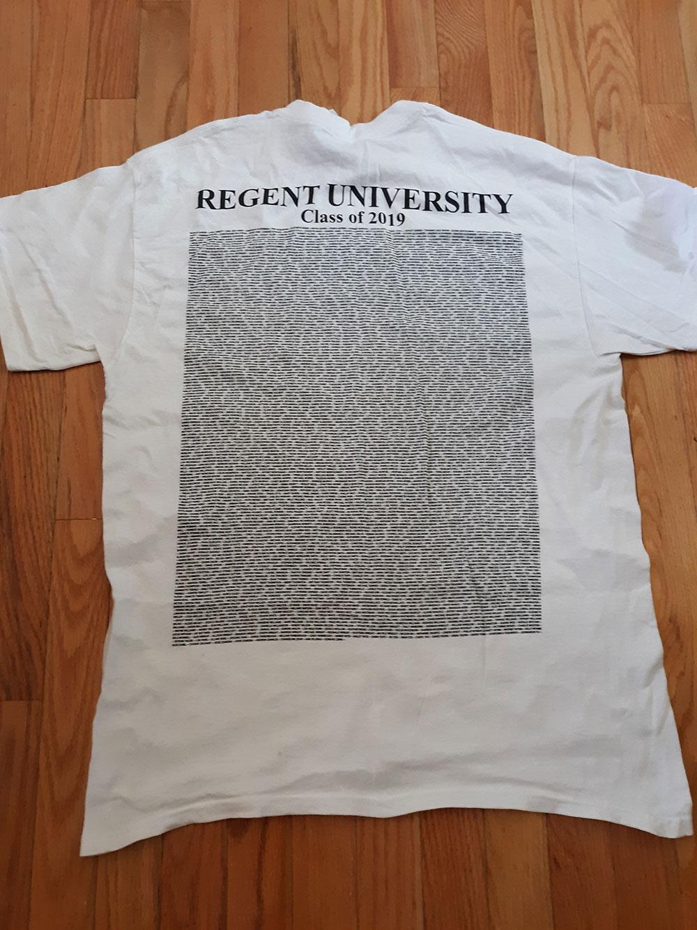 Back of 2019 Commemorative Graduation T-Shirts