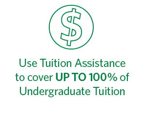 Use tuition assistance to cover up to 100% of undergraduate tuition, at Regent University, Virginia Beach.