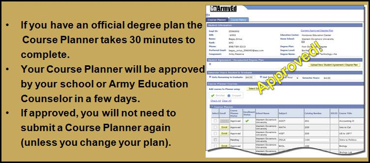 An approved GoArmyEd Course Planner.