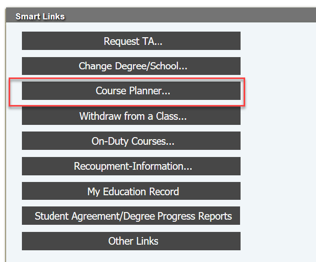 The Course Planner link in the GoArmyEd Smart Links section.