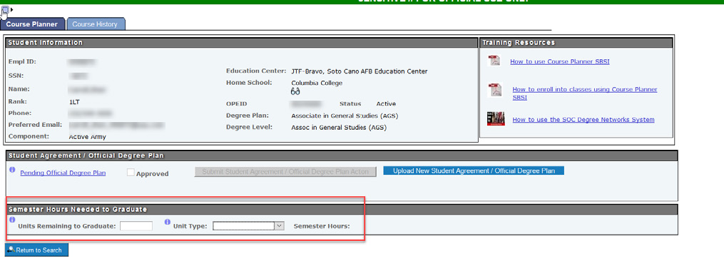 "The ""Units Remaining to Graduate"" and ""Unit Type"" fields highlighted."