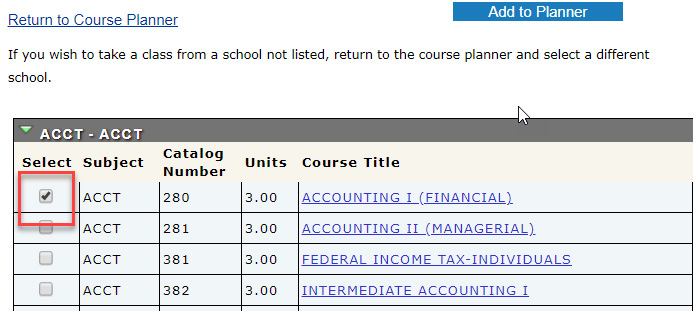 "Check the box for the course(s) you would like to add and select the ""Add to Planner"" button."