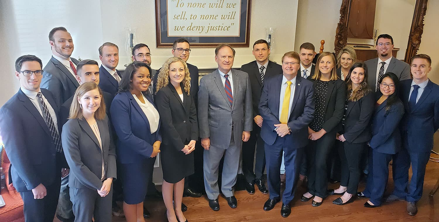 Justice Samuel A. Alito Jr. taught 16 Regent law school students during a special seminar in Washington, D.C.