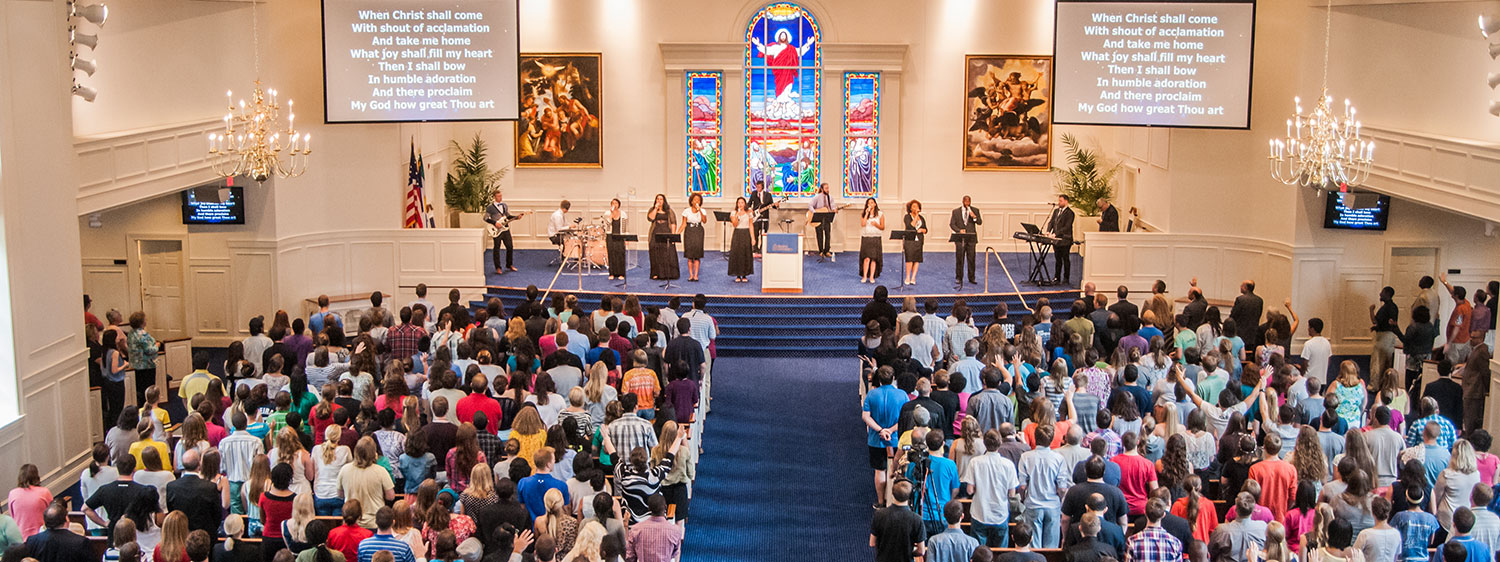 A worship service at Regent University's chapel in Virginia Beach.