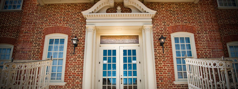 Regent University's campus in Virginia Beach incorporates beautiful Georgian-style architecture.