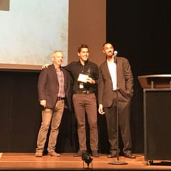 "Jarrod Anderson (center), a Regent University student who received Best Picture for his film, ""Changing Jane,"" at the Poe Film Festival."